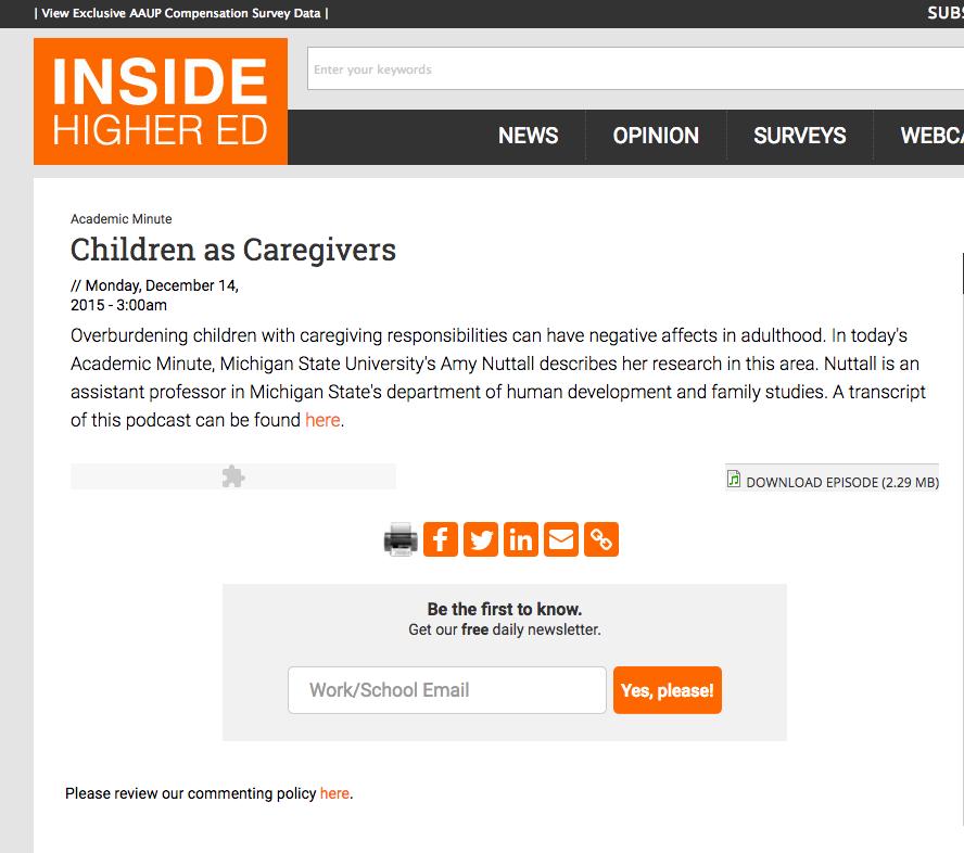 screenshot of Inside Higher Ed website featuring radio story